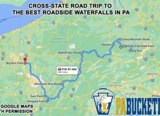 A map showing how to find the best roadside waterfalls in Pennsylvania.