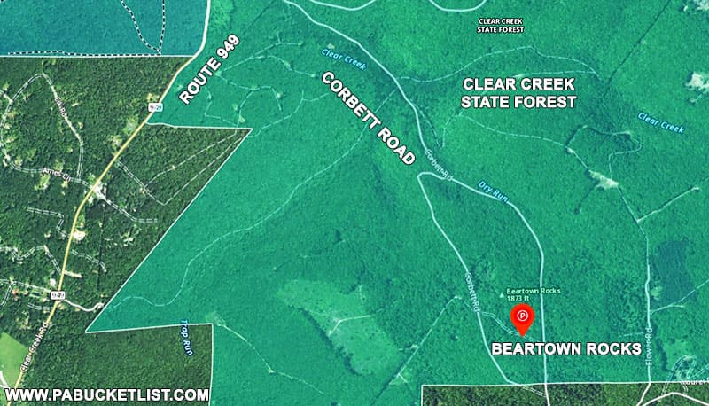 How to find Beartown Rocks in the Clear Creek State Forest.