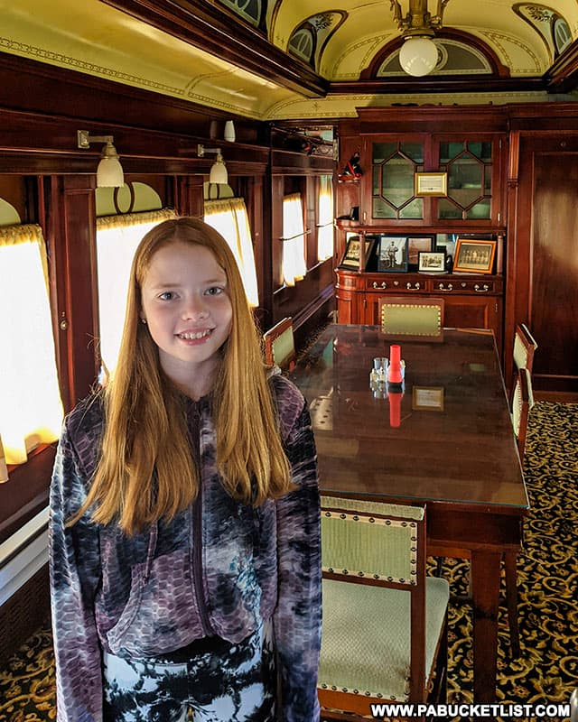 The dining room area at the front of the Presidential Train Car bed and breakfast at Doolittle Station.