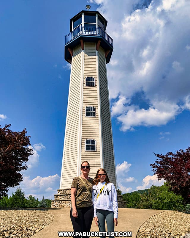 Standing in front of the Sherman Memorial Lighthouse in Tionesta PA