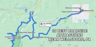 A map tp the 10 best roadside attractions near Wellsboro, Pennsylvania