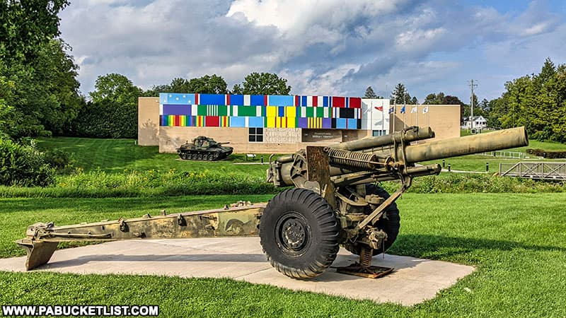 A 155 mm howitzer on display outside the Pennsylvania Military Museum.