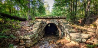 The abandoned South Penn Railroad stone arch culvert in Fulton County.