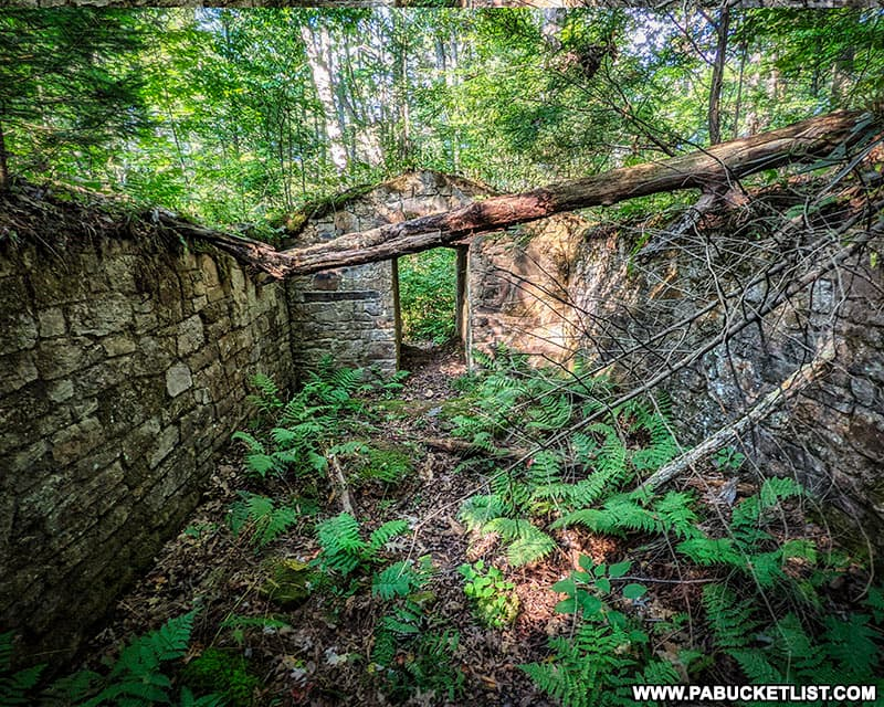 Inside the General's quarters at the abandoned Sideling Hill POW Camp.