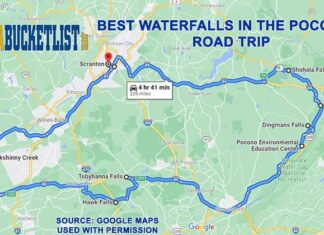 A road map to the best waterfalls in the Poconos region of eastern Pennsylvania.