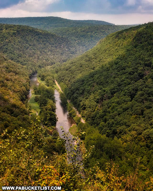 The Pine Creek Rail Trail and Pine Creek as viewed from the Bradley Wales Overlook.