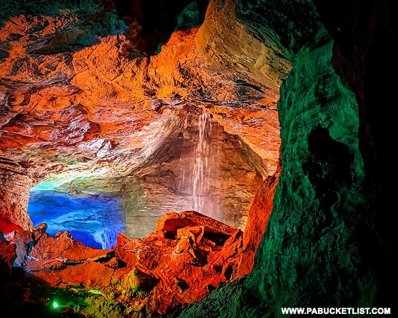 Calico Falls inside Laurel Caverns.