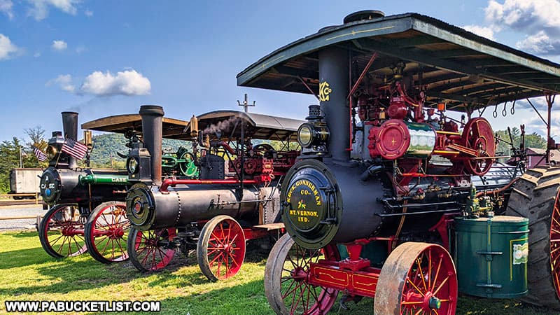 Steam tractors on display during an antique machinery show at the East Broad Top Railroad.
