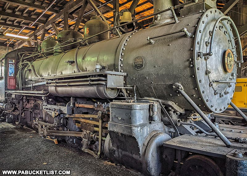 Engine number 15 in the roundhouse at the East Broad Top Railroad.