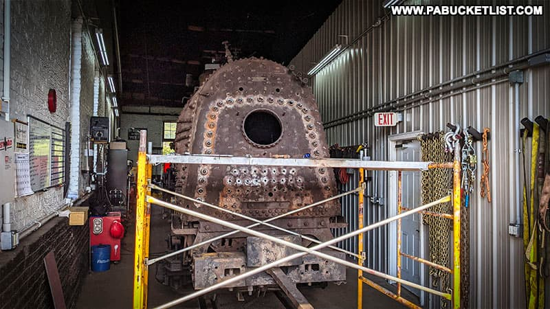 A steam engine undergoing restoration at the East Broad Top Railroad.