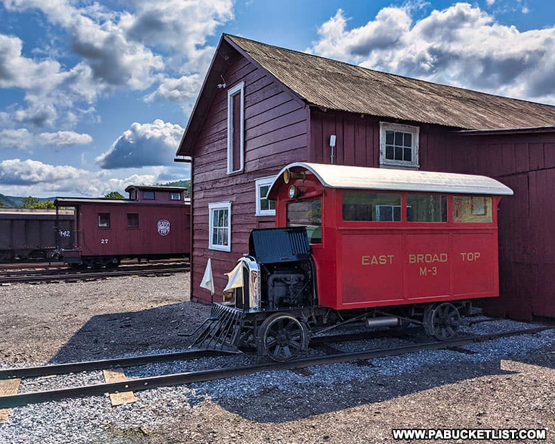 The East Broad Top Railroad M-3 gasoline powered train.