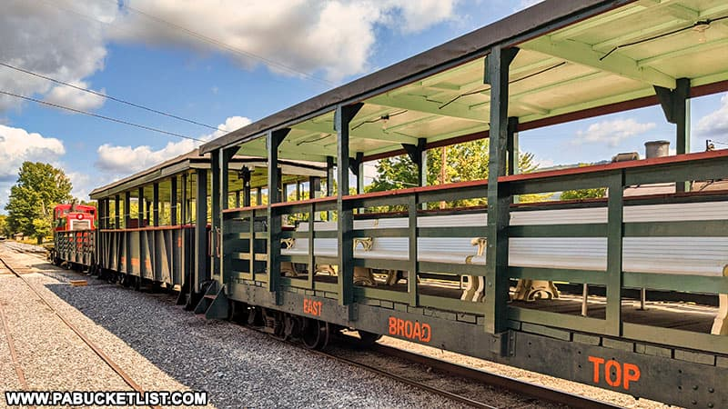 The open-air passenger cars on the East Broad Top Railroad.