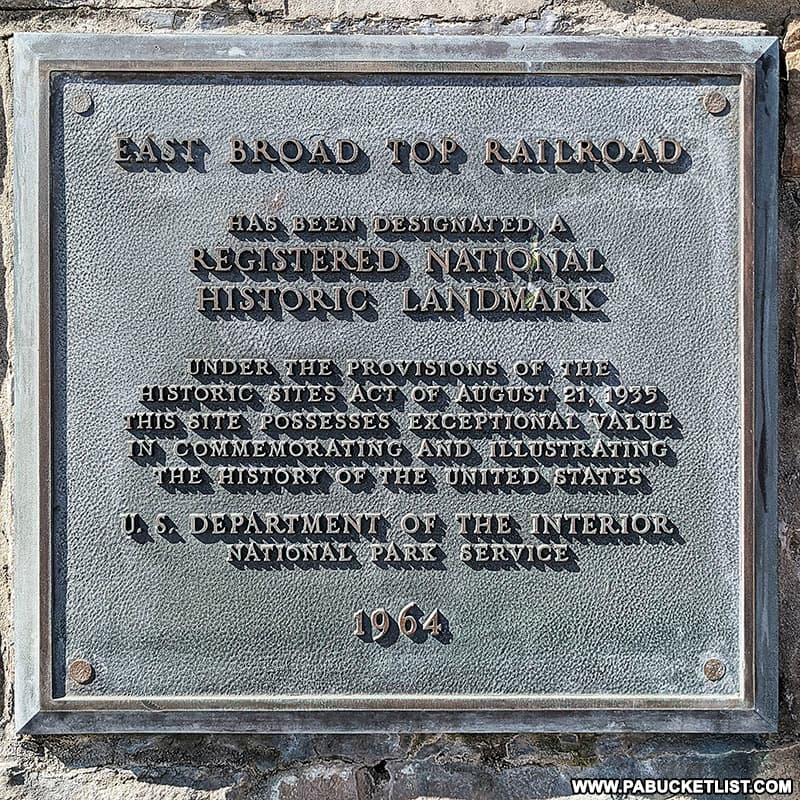 The East Broad Top Railroad has been a Registered National Historic Landmark. since 1964.