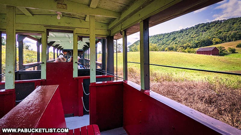 Taking a scenic train ride through the Huntingdon County countryside aboard the East Broad Top Railroad.