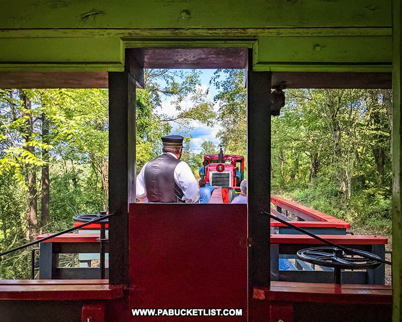 View from a passenger car on the East Broad Top Railroad.