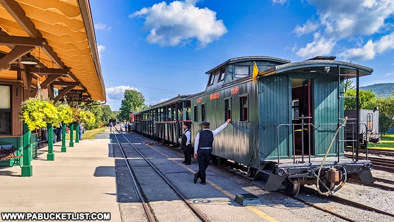 A scenic train ride excursion prepares to depart from the East Broad Top station in Rockhill.