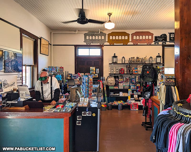 The East Broad Top Railroad gift shop inside the train station.
