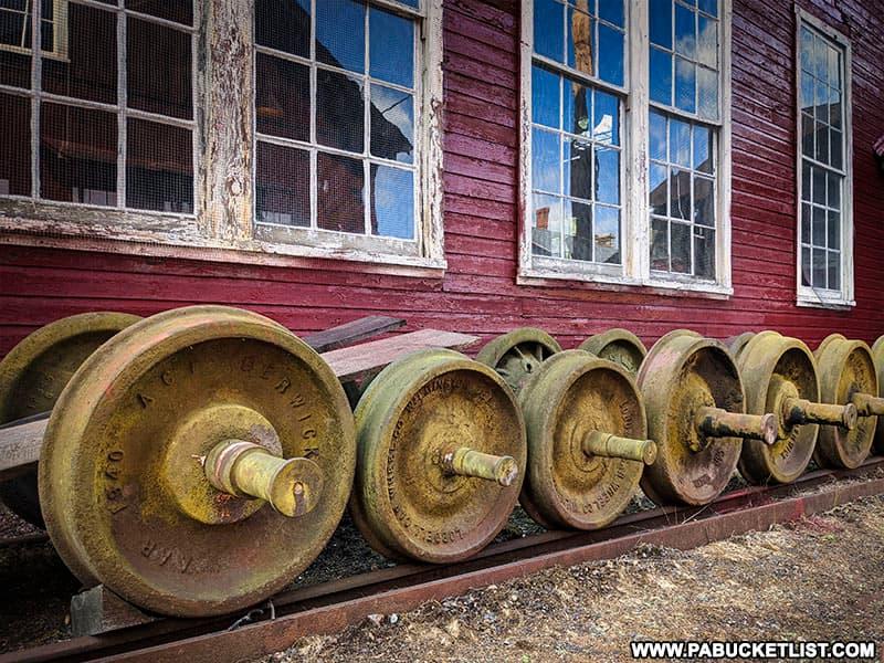 "Narrow gauge ""trucks"" stored near the East Broad Top Railroad machine shops."