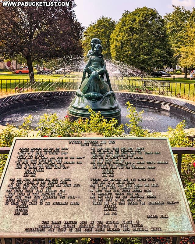 Wynken, Blynken, and Nod plaque and fountain in downtown Wellsboro.