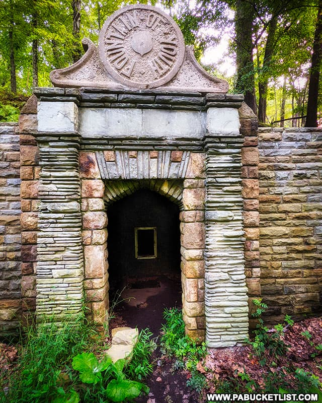 The Roman-inspired stonework on the front of the Fountain of Youth, north of Pittsburgh.