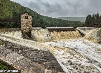 The spillway at Greenwood Furnace State Park on 9.1.2021