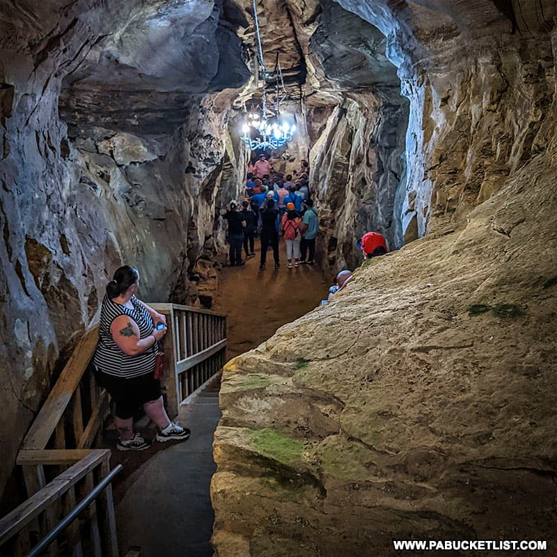 Steps descending into Laurel Caverns.
