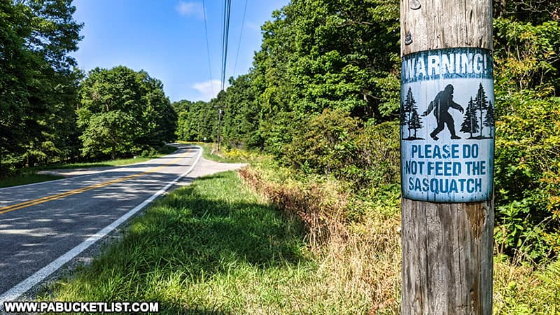 Sasquatch sign along Skyline Drive near Laurel Caverns.