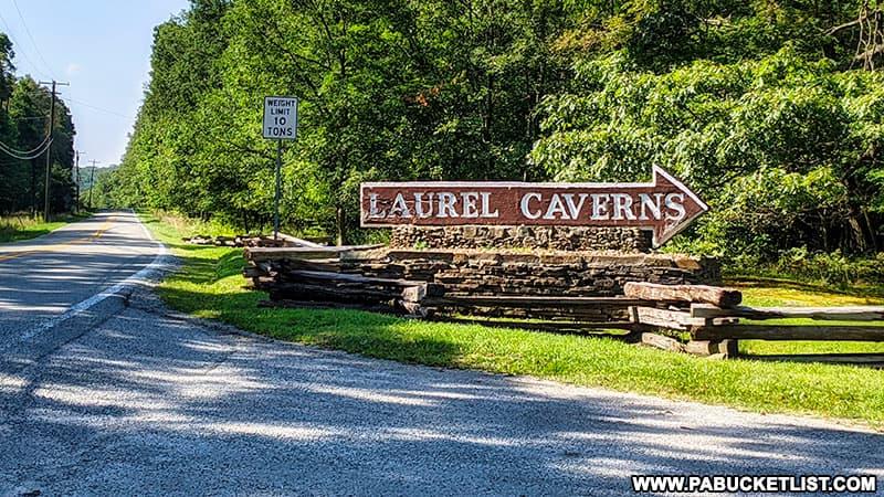 Laurel Caverns entrance along Skyline Drive in Fayette County.