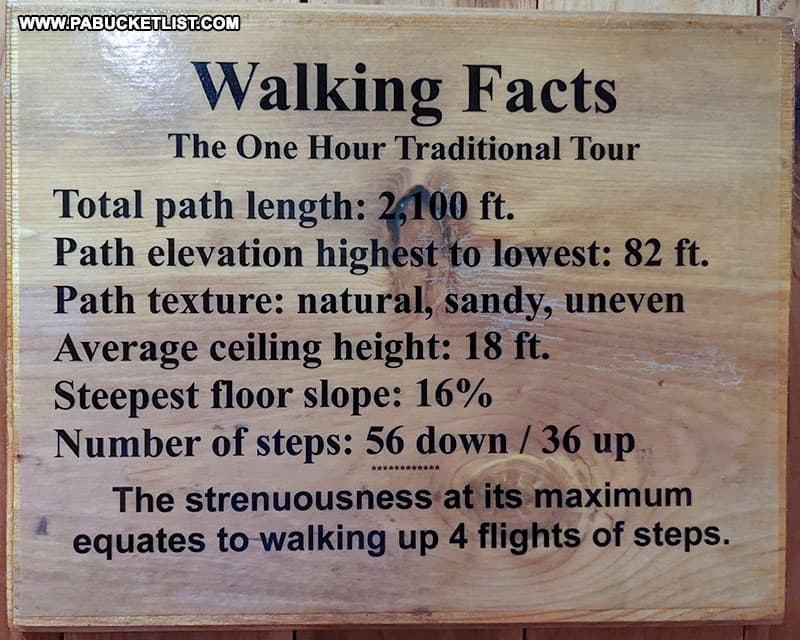 Facts and figures about the Laurel Caverns tour.