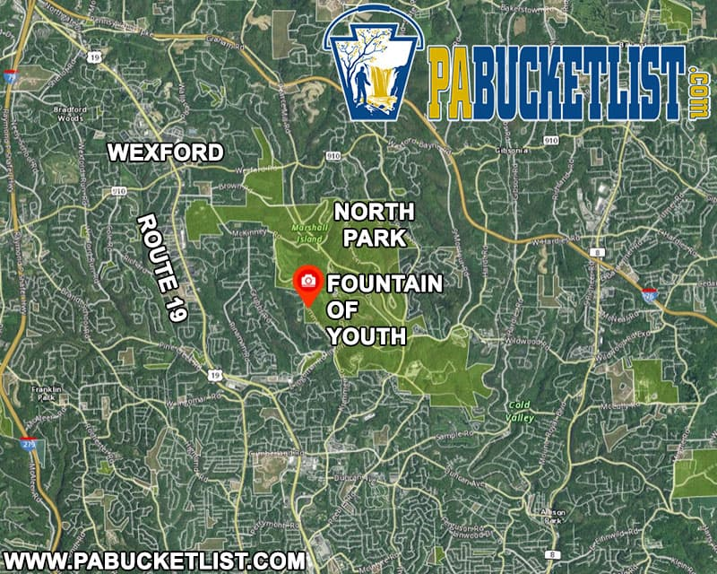 A map to the Fountain of Youth in Wexford, Pennsylvania.