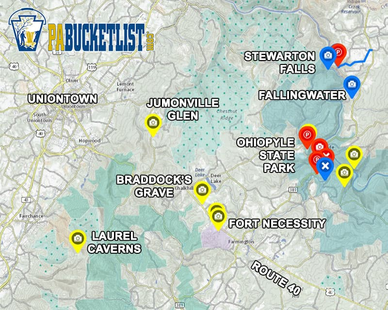 A map to Laurel Caverns and surrounding attractions in Fayette County, PA.