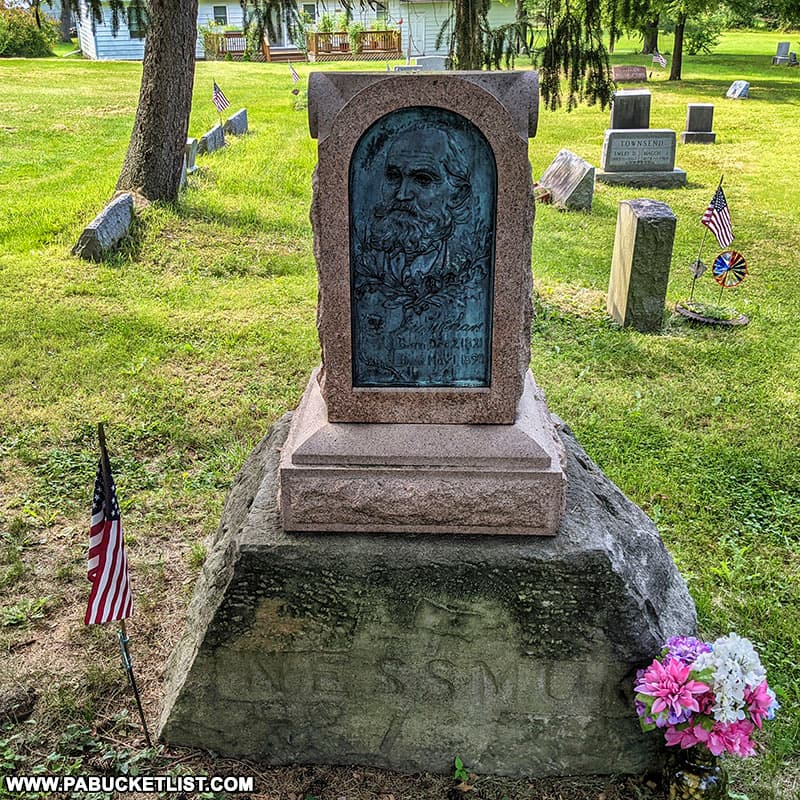 Nessmuk's gravesite in the Wellsboro Cemetery.