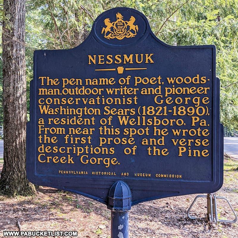 Nessmuk historical marker at Leonard Harrison State Park.