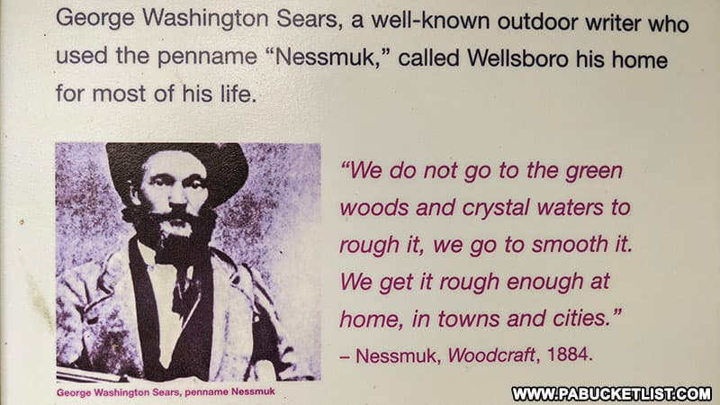 A Nessmuk quote on a display at Colton Point State Park near Wellsboro.