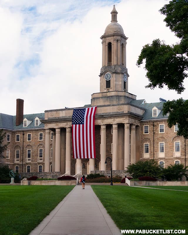 A view from Old Main lawn of the American flag commemorating the 20th anniversary of the 9/11 attacks on America.