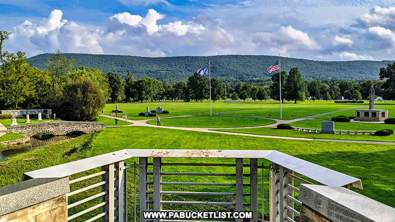 Looking out over the museum grounds towards the Rothrock State Forest.