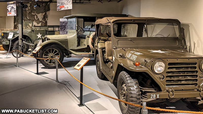 Military vehicle display at the Pennsylvania Military Museum.