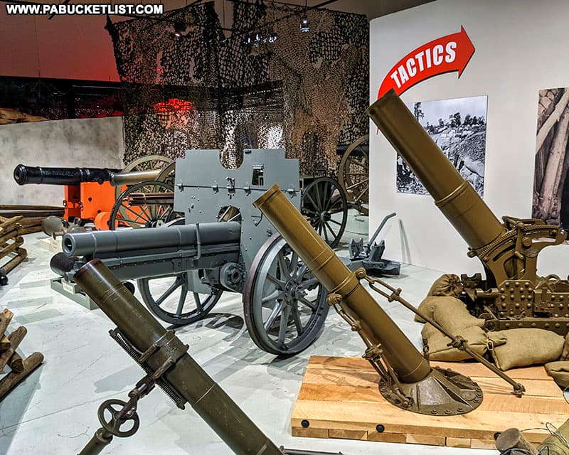 Cannons and mortars at the Pennsylvania Military Museum.