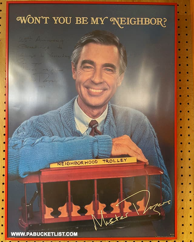 Signed poster from trolley fan Mister Rogers at the Rockhill Trolley Museum.