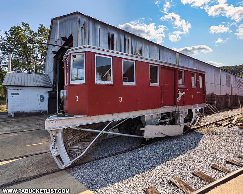 Snow sweeper car #3, built in 1911, in the Rockhill Trolley Museum collections.