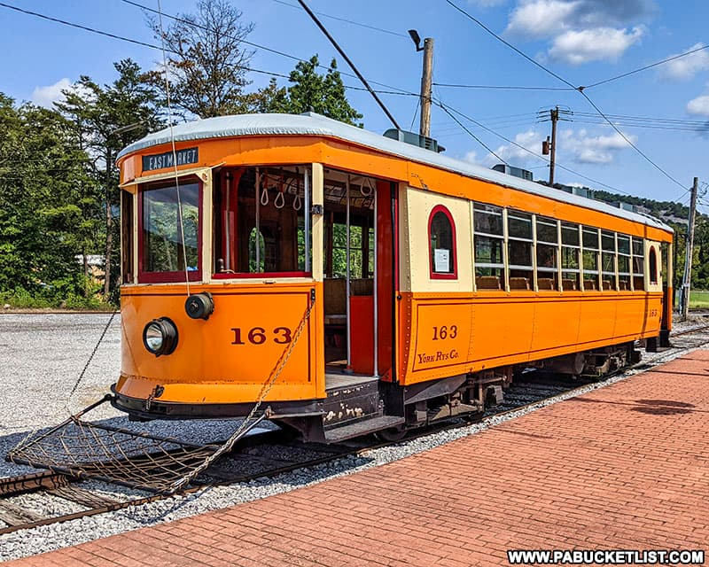 Trolley 163 at the Rockhill Trolley Museum originally operated in York, PA.