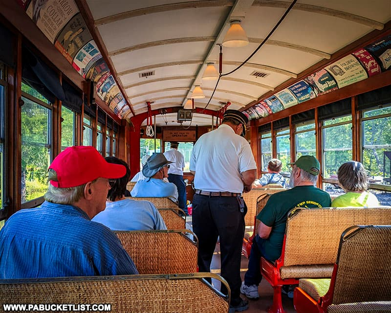 Tickets being punched on a trolley ride through the Blacklog Narrows in Huntingdon County.