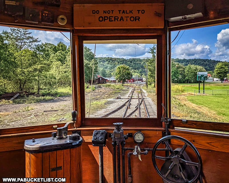 Leaving the station aboard the York #163 trolley car at the Rockhill Trolley Museum.