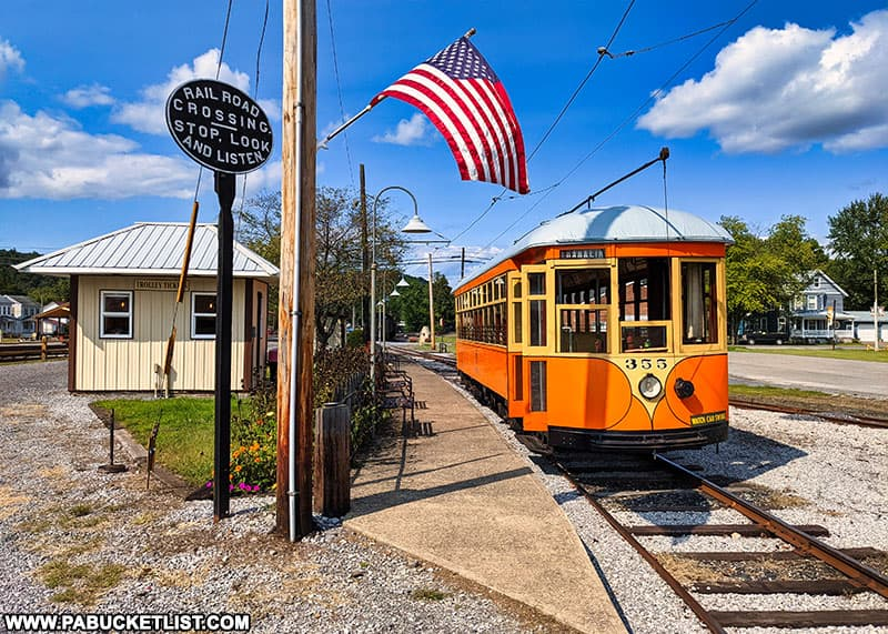 The Rockhill Trolley Museum offers visitors the chance to ride antique electric trolley cars through a scenic Huntingdon County valley.