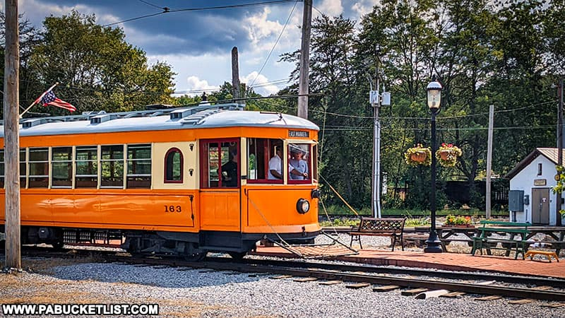 York trolley car #163 pulling into the station at Rockhill in Huntingdon County.
