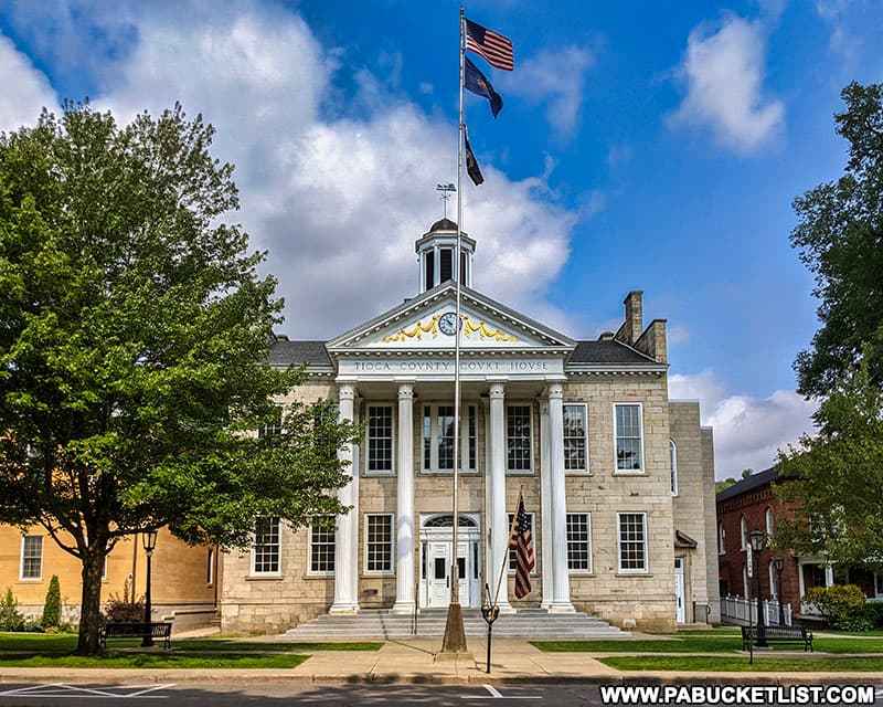 The Tioga County Courthouse, a roadside attraction in downtown Wellsboro, PA.