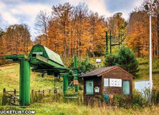 Ski lift at the abandoned Denton Hill State Park ski resort.