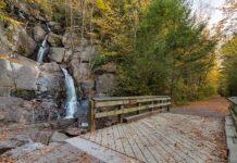 Buttermilk Falls along the Lehigh Gorge Rail Trail at Lehigh Gorge State Park.