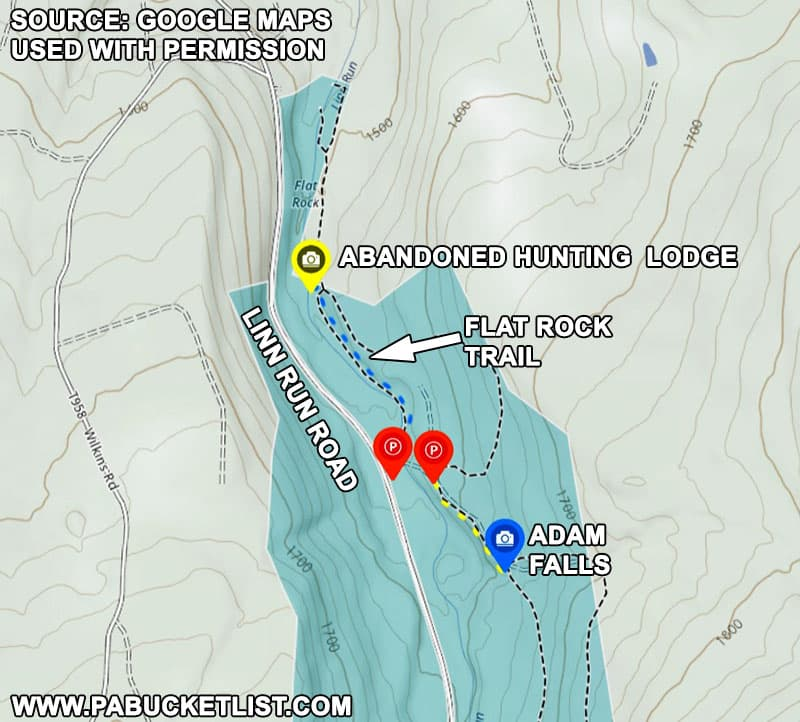 Map to the abandoned hunting lodge at Linn Run State Park.