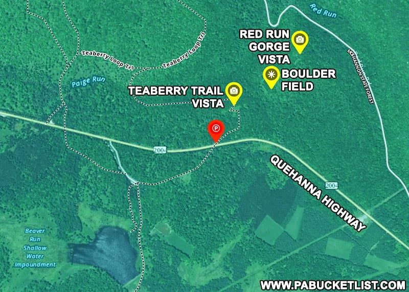 A map to Teaberry Trail VIsta and Red Run Gorge Vista in the Quehanna Wild Area.